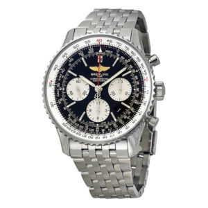 Breitling Navitimer 01 Black Dial Chronograph Stainless Steel Men's Watch AB012012-BB01SS