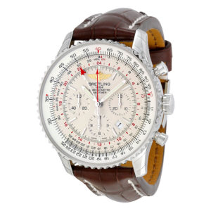 Breitling Navitimer GMT Automatic Silver Dial Brown Leather Men's Watch
