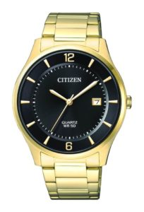 Citizen Mens Gold Stainless Steel Quartz Date Watch