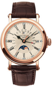 Patek Philippe Perpetual Calendar 18kt Rose Gold Brown Leather Men's Watch