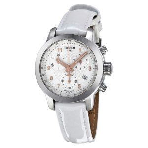 Tissot PRC 200 Chronograph Silver Dial White Leather Ladies Watch