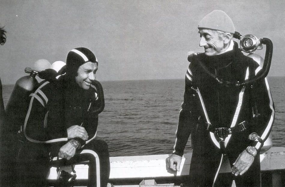 Jaqcues Cousteau wearing an Omega Ploprof
