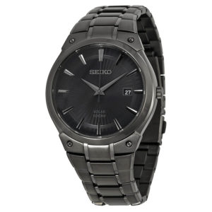 Men's Dress Solar Black Stainless Steel SNE325