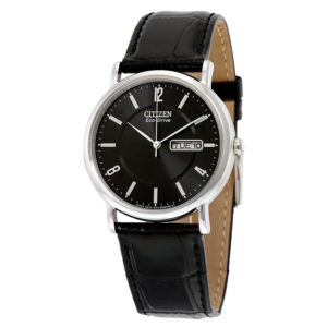 Men's Eco-Drive Stainless Steel with Leather Band BM8240-03E