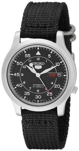 Men's Seiko 5 Automatic Stainless Steel Watch with Black Canvas Strap SNK809