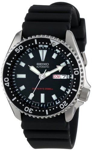 Men's Stainless Steel and Black Polyurethane Automatic Dive SKX173