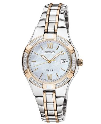 Women's Dress Solar Classic Diamond-Accented Two-Tone Stainless Steel SUT068