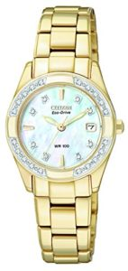 Women's Eco-Drive Regent Gold-Tone Diamond-Accented EW1822-52D
