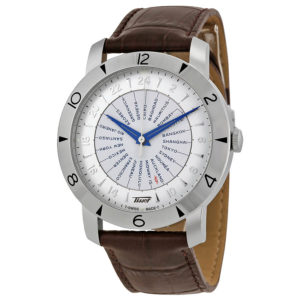 Men's Heritage Navigator Silver Dial Brown Leather T0786411603700
