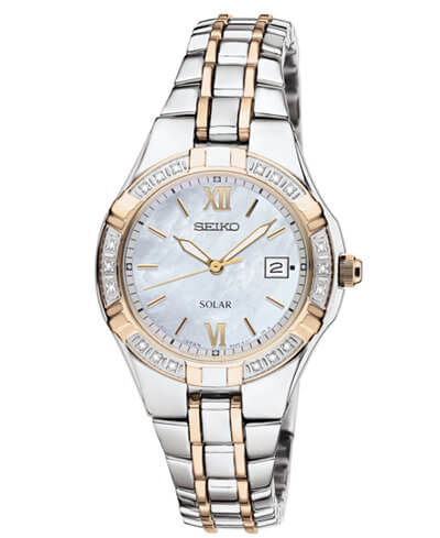 Seiko Dress Solar Classic Diamond-Accented Two-Tone Stainless Steel SUT068