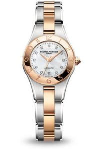 Baume and Mercier Linea White Dial Stainless Steel and 18kt Rose Gold Ladies 10073