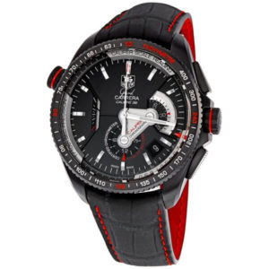 Tag Heuer Grand Carrera Leather Strap Chronograph Black Dial CAV5185.FC6237