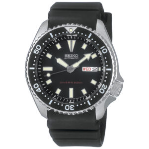 Seiko Stainless Steel and Black Polyurethane Automatic Dive SKX173