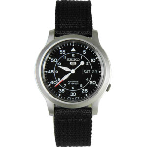 Seiko 5 Automatic Stainless Steel Watch with Black Canvas Strap SNK809