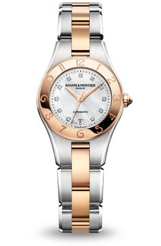 Baume & Mercier Linea White Dial Stainless Steel and 18kt Rose Gold10073